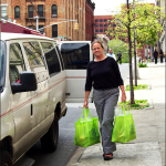 Heidi Hynes, the head of La Canasta, delivering fresh produce to the Goodwill on East 148th; one of the many locations she delivers to in the Bronx. (Henry Miller)