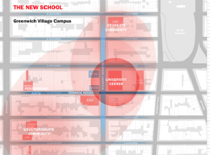 At the University Town Hall on April 2, President David Van Zandt presented faculty and students with this map, depicting what the face of The New School will soon look like. (Courtesy of The New School Office of Design, Construction and Facilities Management)